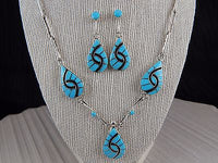 Zuni Sterling Silver & Turquoise Necklace & Earring Set - Amy Wesley - High Lonesome Trading