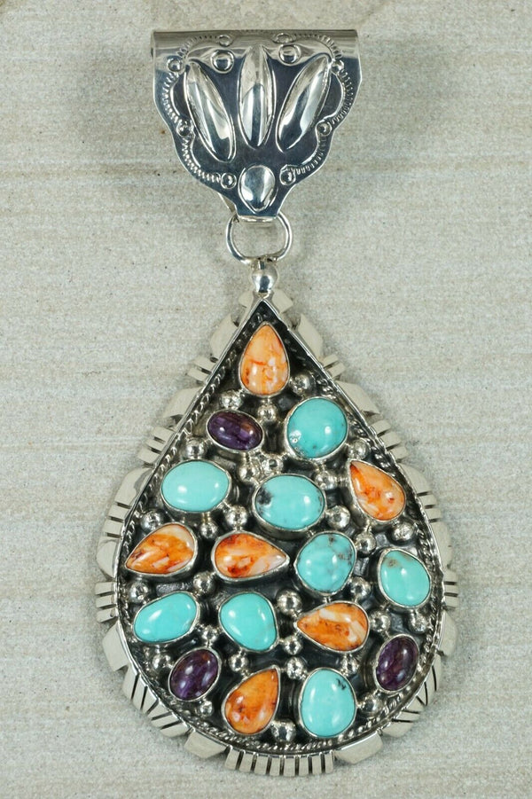 Navajo Turquoise, Spiny Oyster and Sterling Silver Pendant - Raymond Delgarito