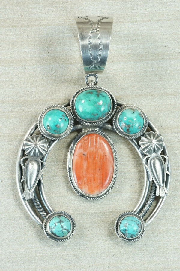 Turquoise, Spiny Oyster and Sterling Silver Pendant - Raymond Delgarito