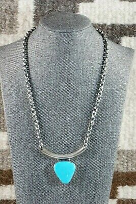 Navajo Turquoise & Sterling Silver Necklace - Raymond Delgarito - High Lonesome Trading