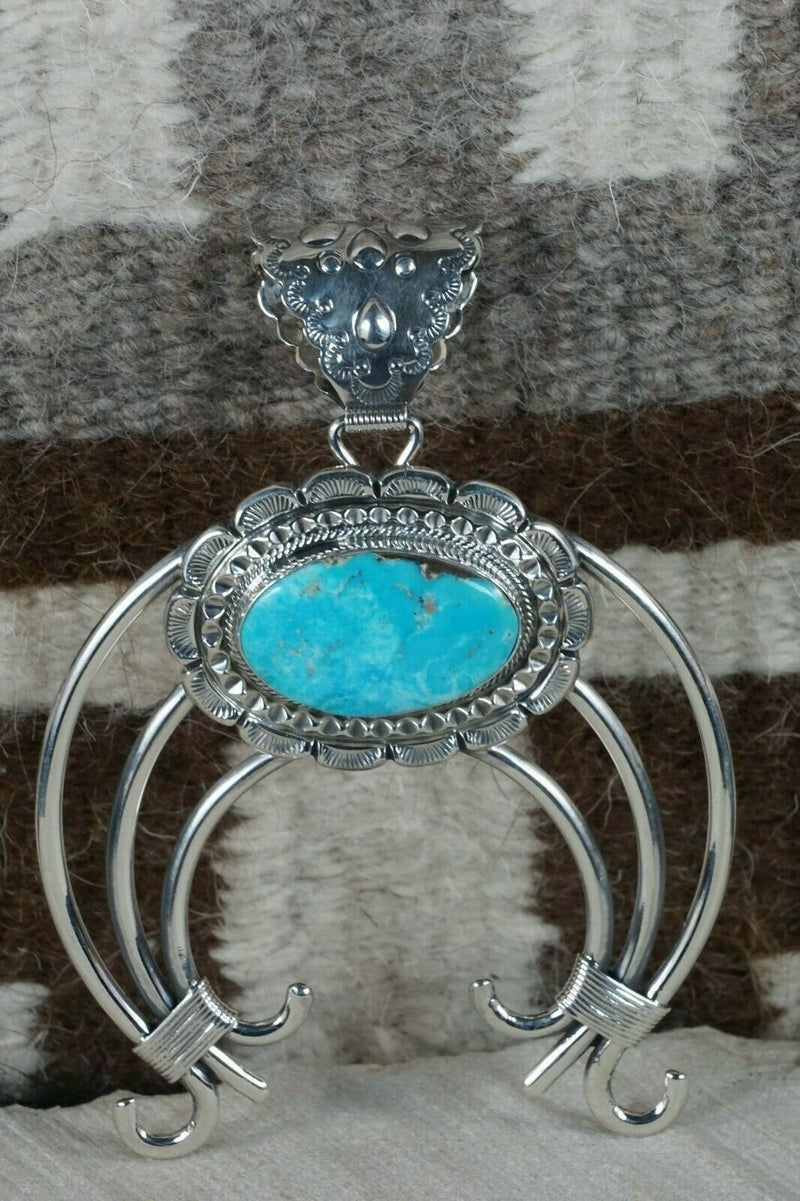 Navajo Turquoise and Sterling Silver Naja Pendant - Raymond Delgarito - High Lonesome Trading