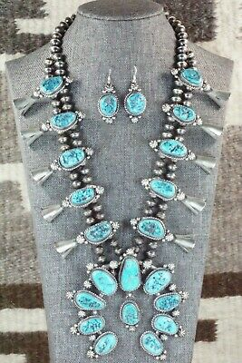 Turquoise & Sterling Silver Squash Blossom and Earrings - Vernon Johnson