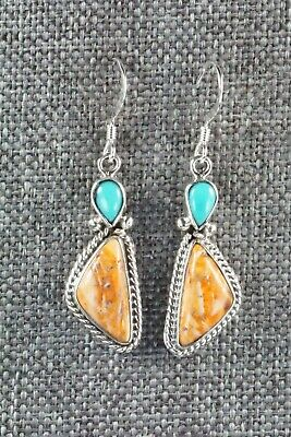 Turquoise, Spiny Oyster & Sterling Silver Earrings - Gary Shorty