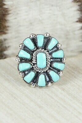 Turquoise & Sterling Silver Ring - Angela Natachu - Size 6.5