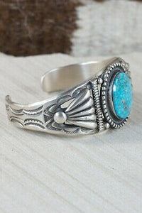 Navajo Turquoise and Sterling Silver Bracelet - Calvin Martinez - High Lonesome Trading