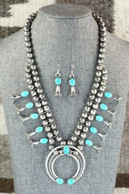 Turquoise & Sterling Silver Squash Blossom and Earrings - Leon Kirlie