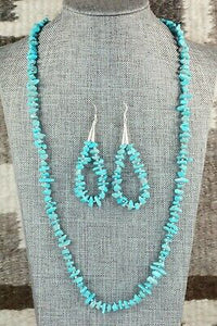 Turquoise & Sterling Silver Necklace and Earrings - Victoria Calladitto