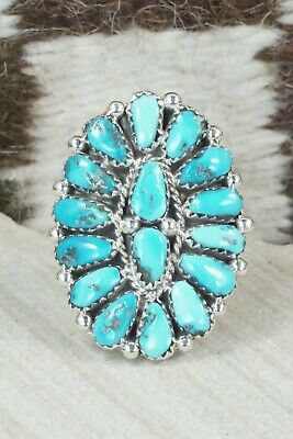 Turquoise and Sterling Silver Ring - Justina Wilson - Size 6.75