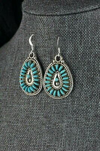 Turquoise & Sterling Silver Earrings - Connie Wyaco - Zuni - High Lonesome Trading
