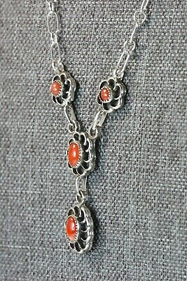 Navajo Coral & Sterling Silver Floral Necklace and Earrings Set - Sadie Jim
