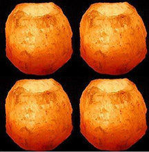 Load image into Gallery viewer, 4X NATURAL HIMALAYAN CRYSTAL ROCK SALT CANDLE TEA LIGHT HOLDER