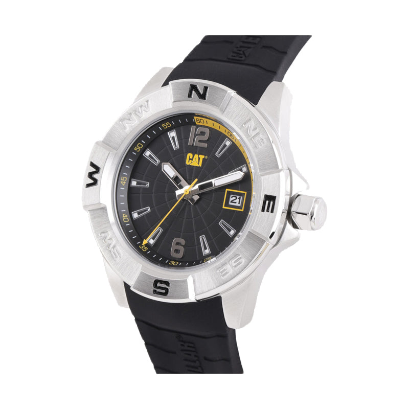 RELOJ CATERPILLAR AF14121137  NORTH - BLACK   YELLOW DIAL / 44 MM / BLACK SILICONE STRAP
