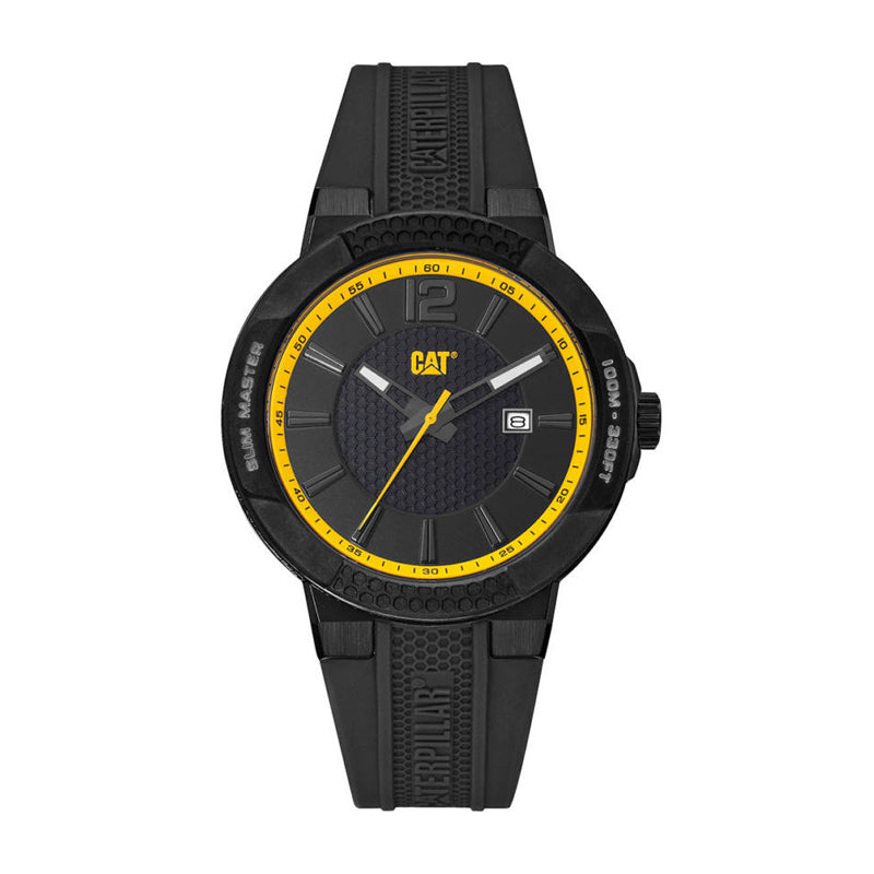 RELOJ CATERPILLAR SH16121137  SHOCK SLIM - BLACK   YELLOW DIAL / 43.5MM / BLACK SILICONE STRAP