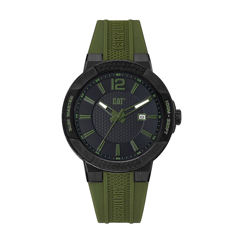 RELOJ CATERPILLAR SH16123133  SHOCK SLIM - BLACK   GREEN DIAL / 43.5MM / BLACK SILICONE STRAP