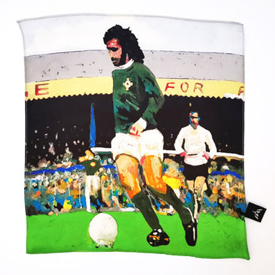 George Best Northern Ireland 'Green and White Army'  - Silk Pocket Square