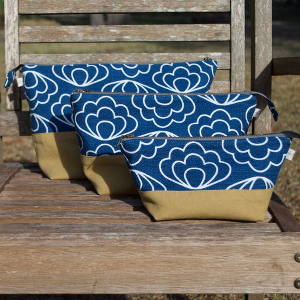 Open Wide Pouch Blue Dashes  - 3 Sizes