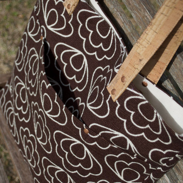 Cork Handle Tote Brown Flowers