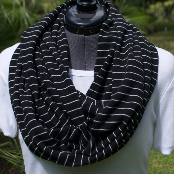 Infinity Scarf Black Stripes Knit