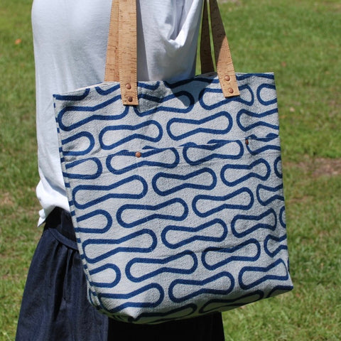 Cork Handle Tote Blue Loops
