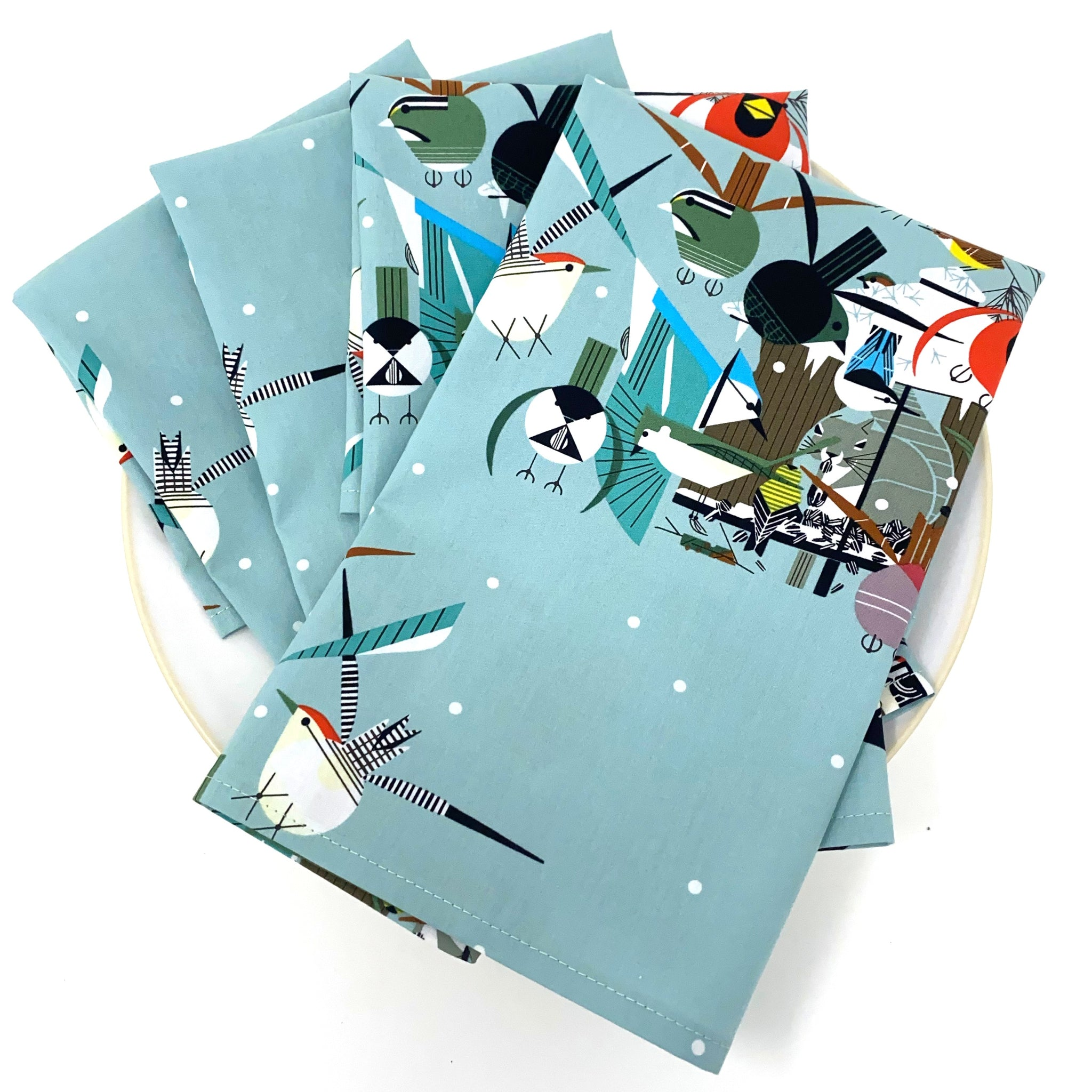 Organic Napkins - Set of 4 Charley Harper Christmas Card