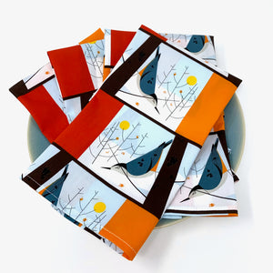 Organic Napkins - Set of 4 Charley Harper White Breasted Nuthatch