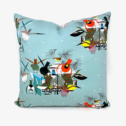Throw Pillow Cover Charley Harper Christmas Card