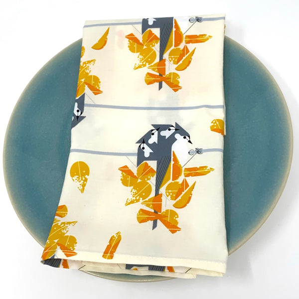 Organic Napkins - Set of 4 Charley Harper Tufted Titmouse