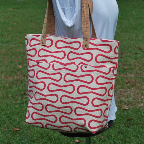 Cork Handle Tote Red Loops