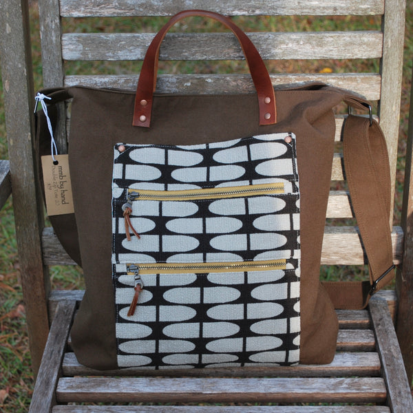 Double Zip Tote Large Brown Retro Half Life
