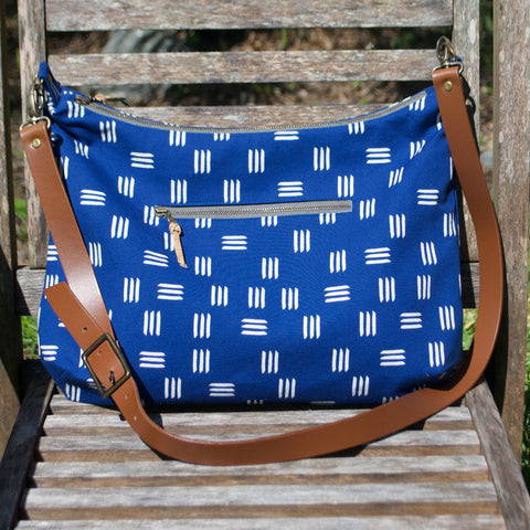 Slouchy Hobo Blue Dashes
