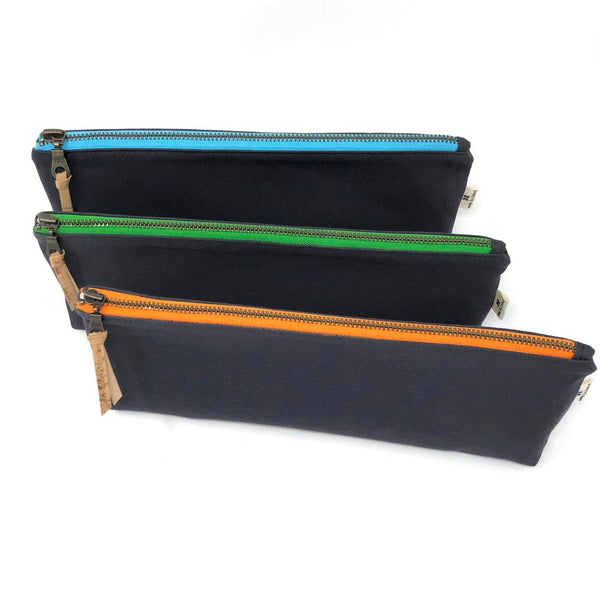 Pencil/Oblong Pouch Gray Solid - Choose Zipper Color!
