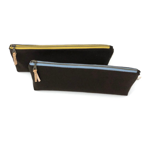 Pencil/Oblong Pouch Dark Brown Solid - Choose Zipper Color!