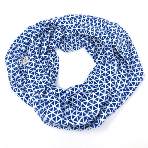 Infinity Scarf Blue Triangles Knit