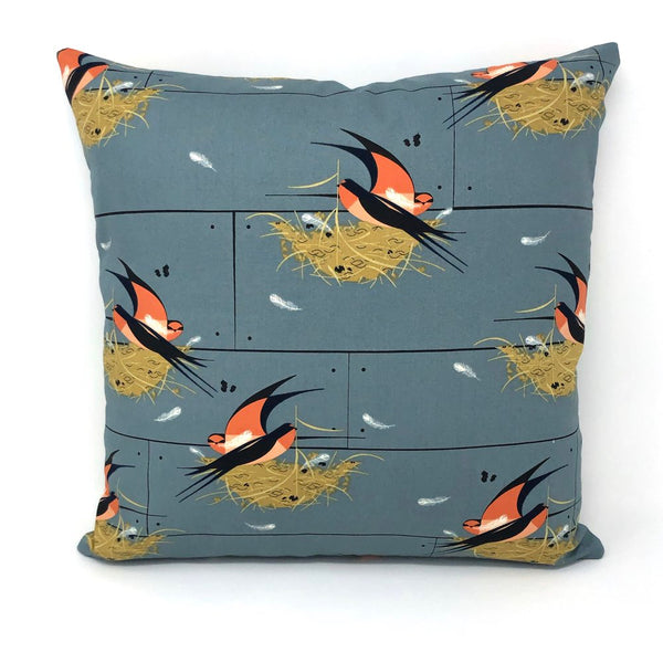 Throw Pillow Cover Charley Harper Graphite Barn Swallow
