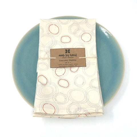 Organic Napkins - Set of 4 Gray & Red Sprinkle