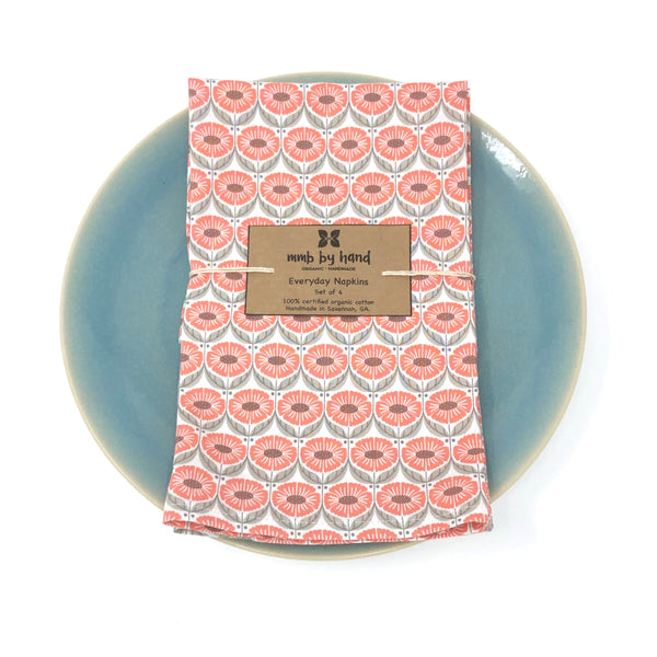 Organic Napkins - Set of 4 Coral Sunflowers