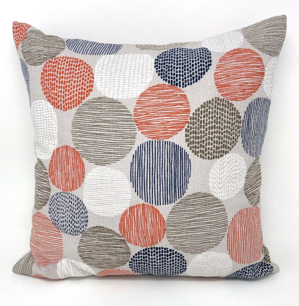Throw Pillow Cover Barkcloth Stepping Stones