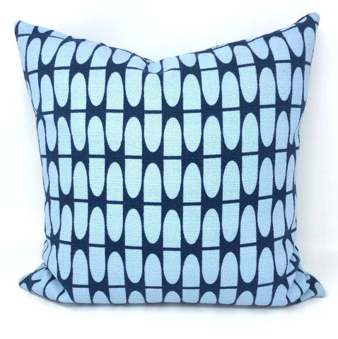 Throw Pillow Cover Barkcloth Blue Half Life