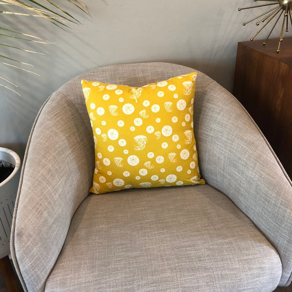 Throw Pillow Cover Charley Harper Gold Maritime Sand Dollar & Jellyfish