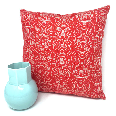 Throw Pillow Cover Red Ripple