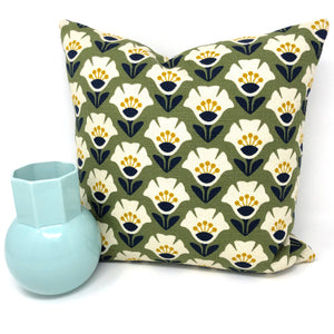 Throw Pillow Cover Barkcloth Olive Garden Variety