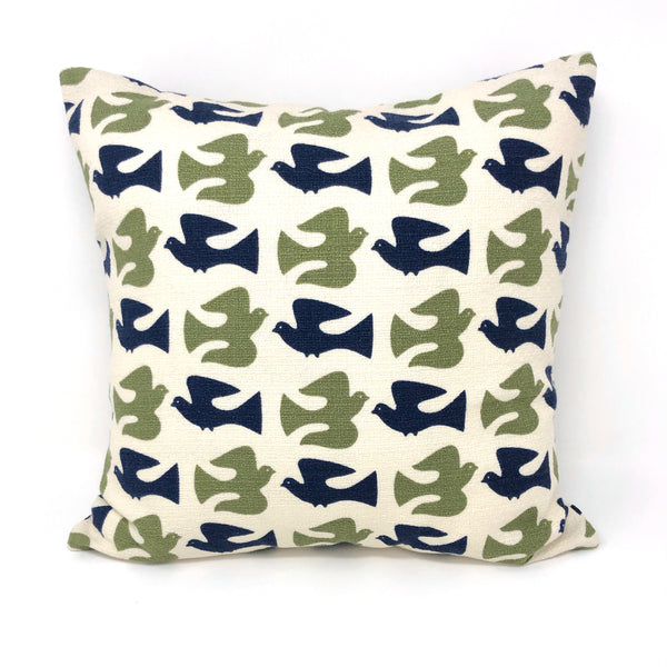 Throw Pillow Cover Barkcloth Olive & Navy On the Fly