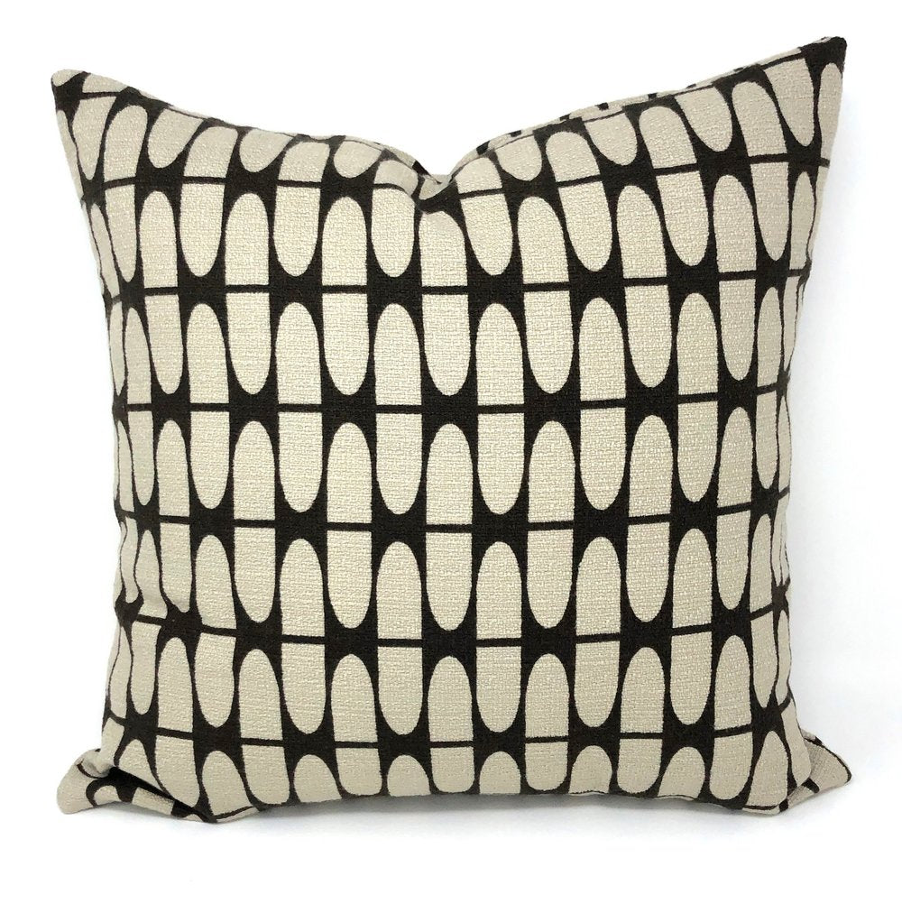 Throw Pillow Cover Barkcloth Brown Half Life