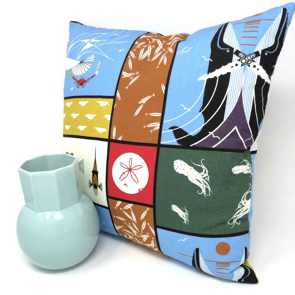 Throw Pillow Cover Charley Harper Maritime Panel
