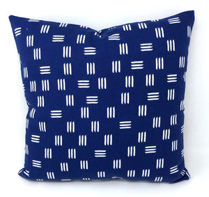 Throw Pillow Cover Blue Dashes