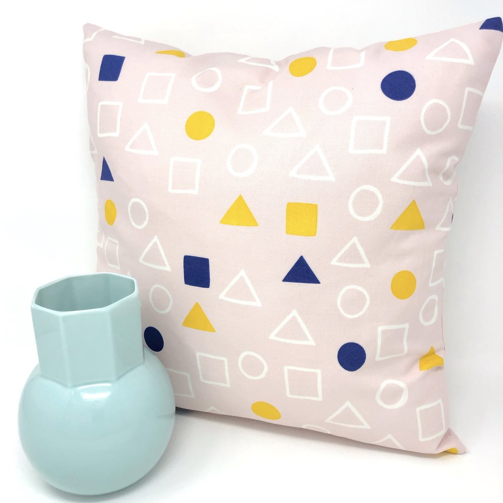 Throw Pillow Cover Pink Geometry