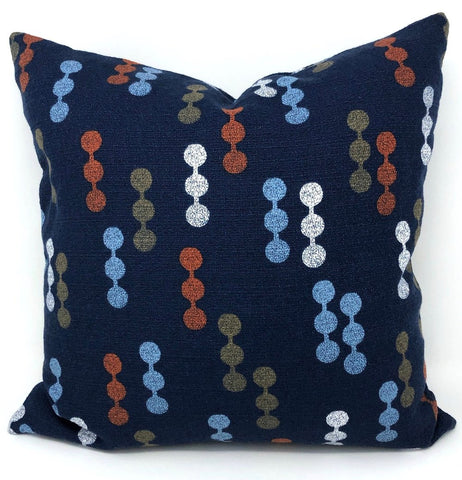 Throw Pillow Cover Barkcloth Navy Dot to Dot