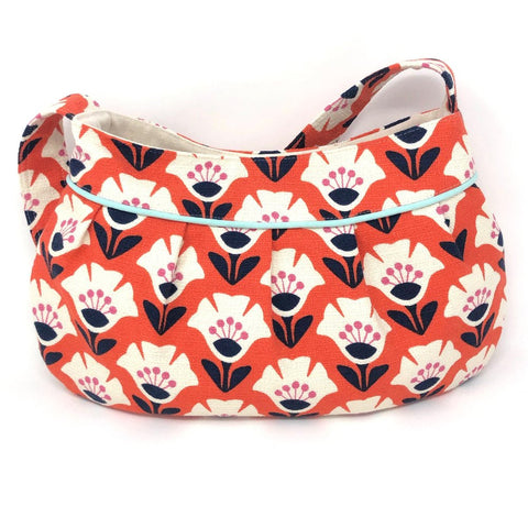 Retro Modern Handbag in Orange Garden Variety Barkcloth