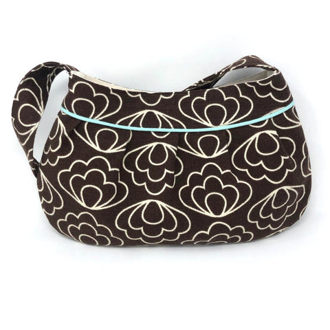 Retro Modern Handbag in Brown Flowers Barkcloth
