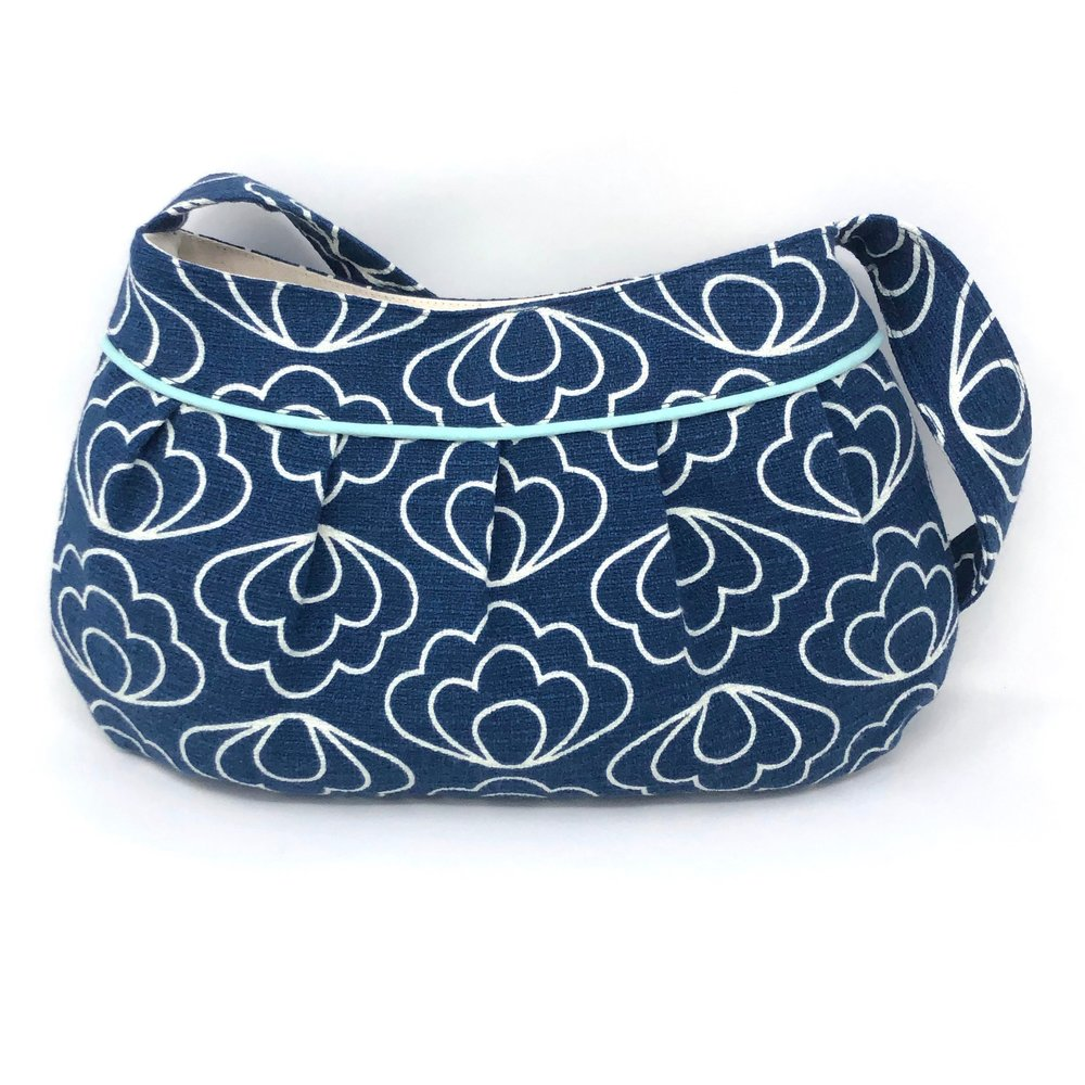 Retro Modern Handbag in Blue Flowers Barkcloth